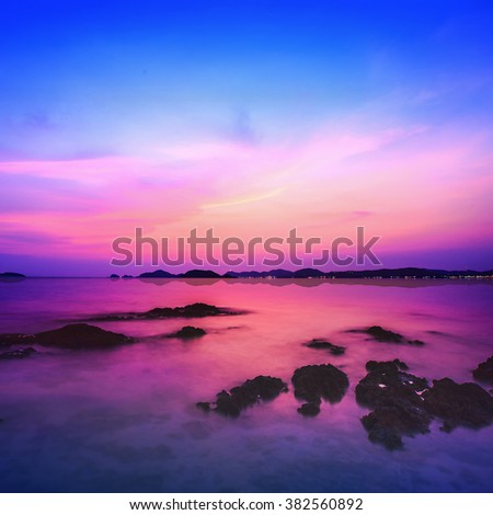 Sea during sunset at twilight on Koh Samui,Surat Thani,Thailand