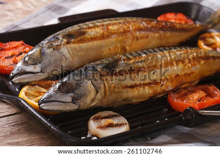 sea fish grilled mackerel and vegetables on the grill pan closeup. horizontal - stock photo