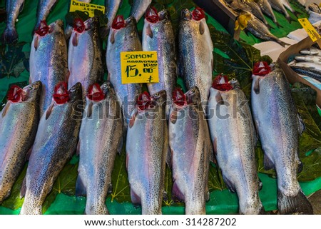 Sea fish on a counter at the fish market, Istanbul, Turkey - stock photo