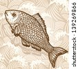 Sea fish. Original hand drawn illustration in vintage style. Raster version. Vector is also available in my gallery - stock photo