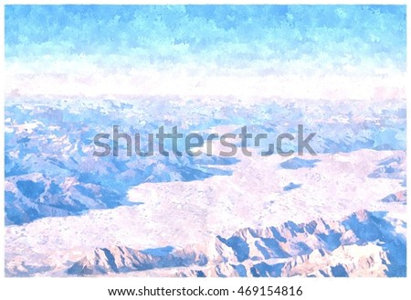 sea fog and mountain peak. View of beautiful clouds and fog below mountain range. Picture made from photograph by adding watercolor effect