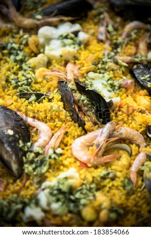 Sea food spanish Paella  - stock photo