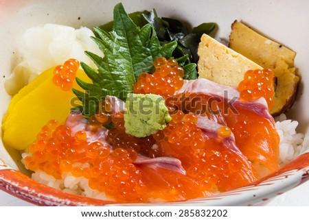 Sea foods bowl sushi - stock photo