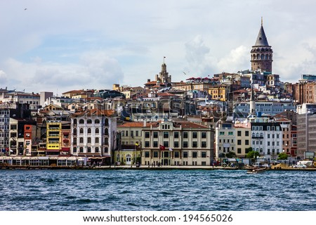 Sea front Galata tower, Istanbul, Turkey. - stock photo