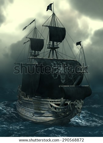 Sea Ghost Legends - Pirate Ship Medusa. 3D illustration.