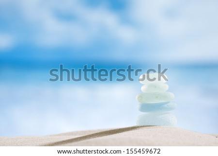sea glass seaglass with ocean , beach and seascape, shallow dof - stock photo