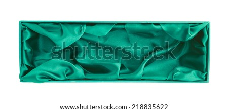 Sea green colored opened tall gift box with the velvet cloth inside, isolated over the white background - stock photo