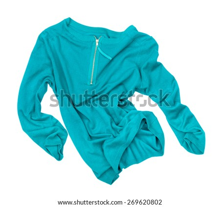sea-green pullover in motion in the air on an isolated white background - stock photo
