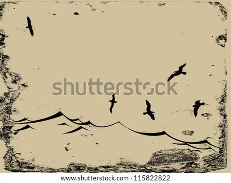 sea gulls silhouette on grunge background - stock photo
