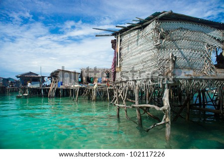 Sea gypsies houses on stilts in Semporna Sabah Borneo