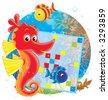 Sea horse and crossword - stock photo