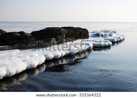 Sea ice, blocks of ice on the sea, winter ocean, Arctic aquatic nature, the ice floe in the ocean, melting ice, spring in the North sea, the Arctic in the spring, wildlife. - stock photo