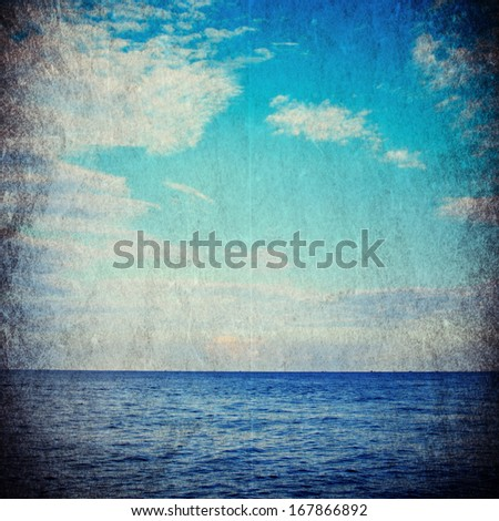 Sea in grunge and retro style.  - stock photo