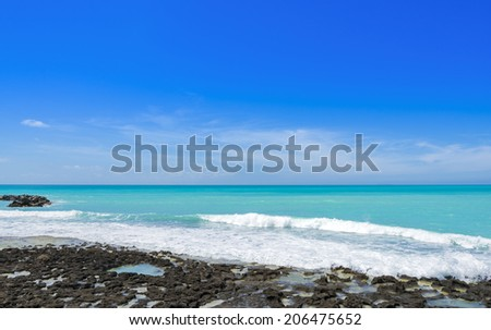 Sea in summer with waves - stock photo