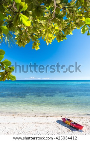 Sea kayak at the lonely Anda white beach of Bohol Islands of Philippines - stock photo