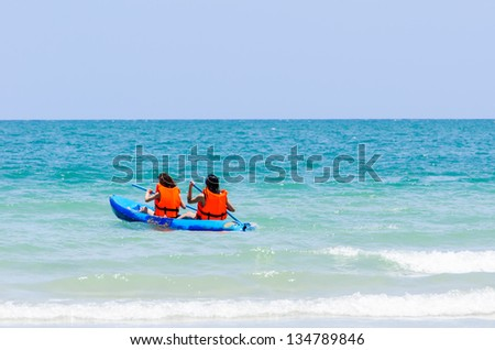 Sea kayak in thai ocean sai kaew beach - stock photo