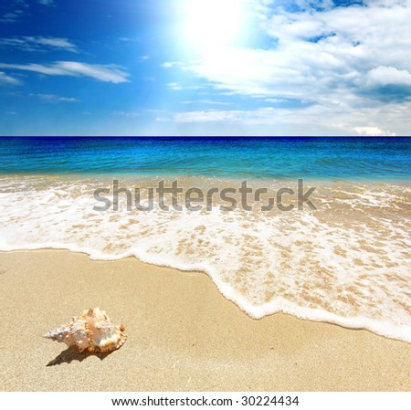 Sea landscape - sea, golden beach, the blue sky and white clouds - stock photo