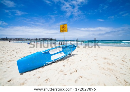 Sea landscape with lifebuoy. - stock photo