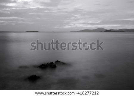 Sea mist black and white  - stock photo