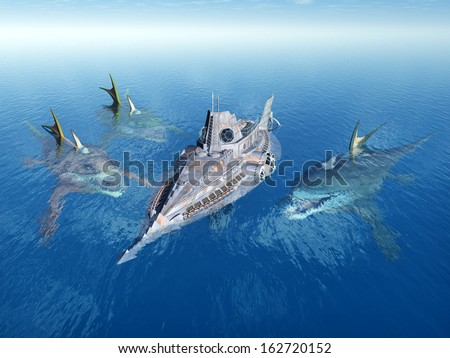 Sea Monsters and Fantasy Submarine Computer generated 3D illustration