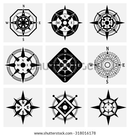 Sea Navigation Nautical Compass Wind Rose Black Icons Set Isolated Illustration