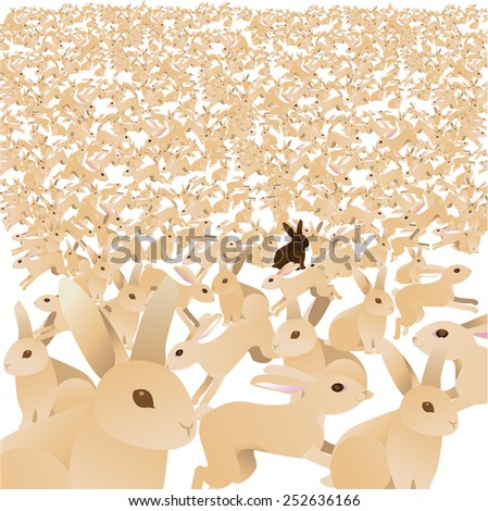Sea of cute bunnies with one chocolate brown bunny. Royalty free stock illustration for greeting card, marketing, poster, blog, invitation, social media, illustrate overpopulation, individuality - stock photo