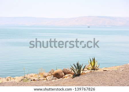 Sea of Galilee in the early morning, ripples on the water. - stock photo