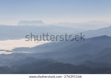 Sea Of Mist With Doi Luang Chiang Dao, View Form Doi Dam in Wianghaeng - stock photo