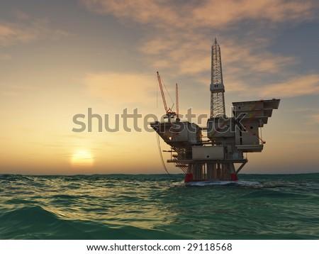Sea Oil Rig Drilling Platform - stock photo