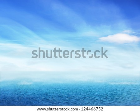 Sea on light foggy day - stock photo