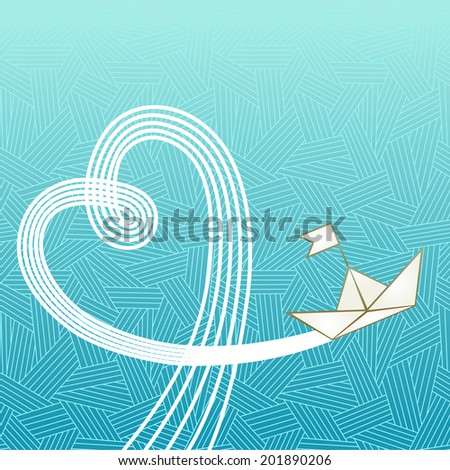 Sea, paper ship and wake in form of heart.. Illustration with concept of travel, adventure, hazard. Romantic background for print, web - stock photo