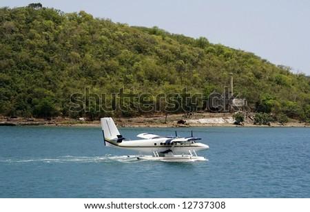 sea plane landing - stock photo