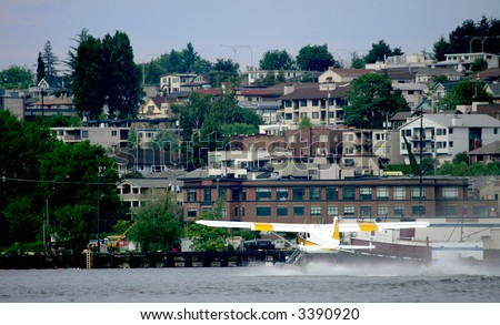 Sea plane on Union Bay Lake, Seattle, USA - stock photo