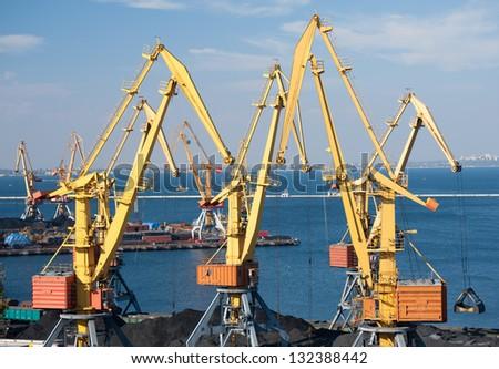 sea port and cranes - stock photo
