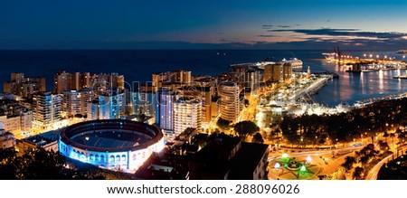 Sea port and residental area in Malaga, Spain - stock photo