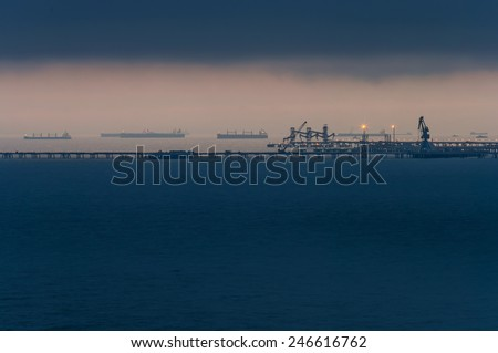 Sea port at night - stock photo