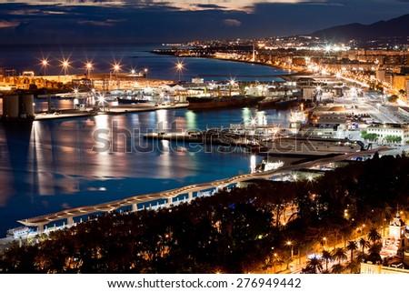 Sea port in Malaga, Spain - stock photo