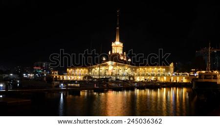 Sea port of Sochi in the september night. - stock photo