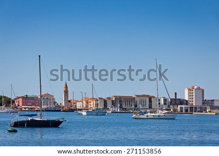 Sea port of Umag city, Istria peninsula, Croatia - stock photo