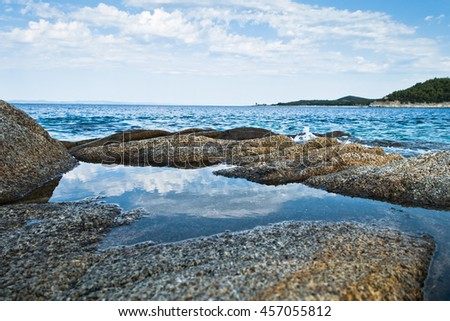 Sea rocks at early morning, west coast of peninsula Sithonia, Chalkidiki, Greece