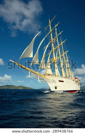 Sea romance.Cruises by ship - stock photo