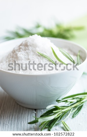 Sea Salt and Rosemary - stock photo