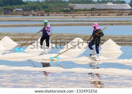 Sea salt harvesting in, Phetchaburi, Thailand - stock photo