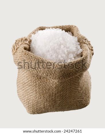 Sea salt in a  burlap sack - stock photo