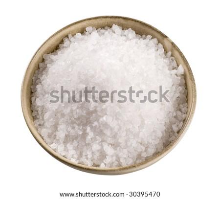 Sea salt in a  ceramic bowl - stock photo