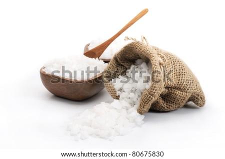 Sea salt in sack - stock photo