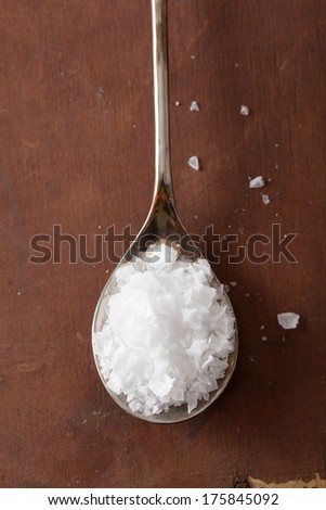 sea salt in spoon  - stock photo