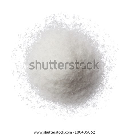 Sea salt pile isolated on white top view - stock photo