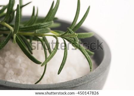 sea salt with rosemary - stock photo