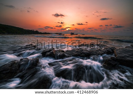 Sea scape, sunrise in the sea, At Samed island, Thailand